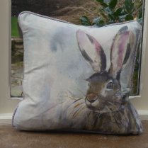 Harriet Hare Linen Print Cushion