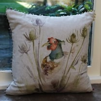 Hiding Pheasant Linen Print Cushion