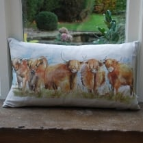 Highland Cattle Print Cushion