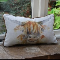 Highland Cow Linen Cushion