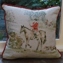 Horse and Hound Linen Print Cushion