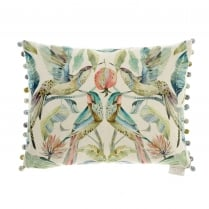 Hummingbirds Pomegranate Velvet Cushion