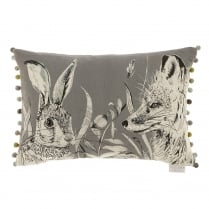 Hunt Charcoal Linen Print Cushion