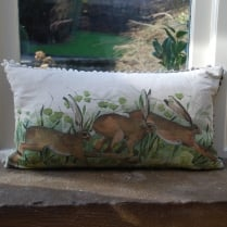 Leaping Hares Linen Print Cushion