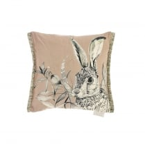 Mini Blush Hare Linen Print Cushion