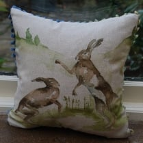 Mini Boxing Hares Linen Print Cushion