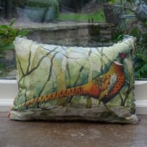 Mini Calling Pheasant Linen Cushion
