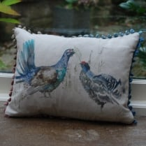 Mini Capercaillie Couple Linen Print Cushion