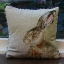 Mini Hazel Hare Linen Print Cushion
