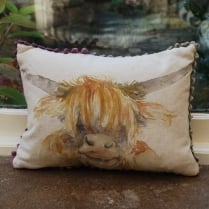 Mini Highland Coo Linen Print Cushion