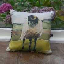 Mini Moorland Ram Linen Print Cushion