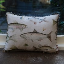Mini River Fish Linen Print Cushion