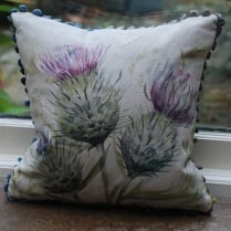 Mini Thistle Glen Linen Print Cushion