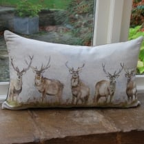 Moorland Stag Linen Print Cushion