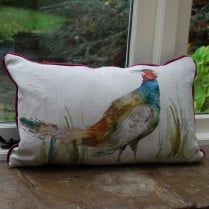 Percy Pheasant Linen Print Cushion
