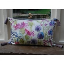 Thistles Velvet Print Cushion with Tassels