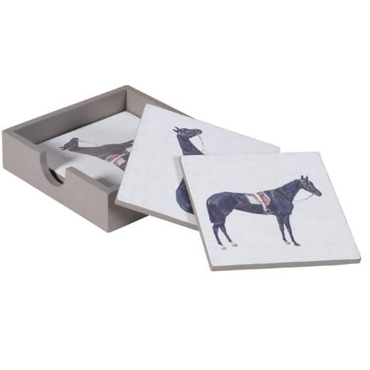 Racehorse Coasters with Tray