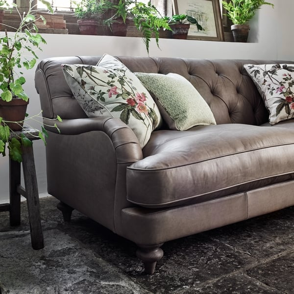 Uk Made Leather Button Back Sofa Love Seat Curiosity Interiors