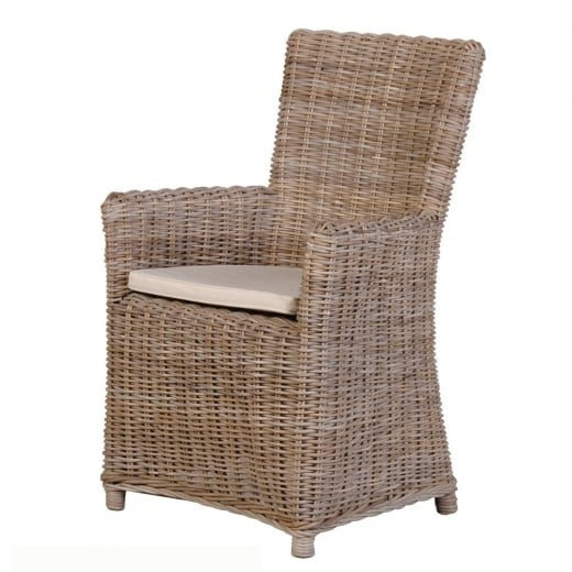 Rattan Carver Chair with Cushion