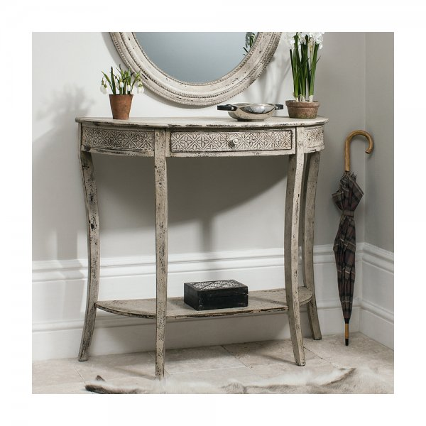 Rebecca console table hall table in a vintage cream for Cream hall table