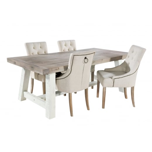 Ruan Chalk Extendable Dining Table & Woodland Dining Chair Package