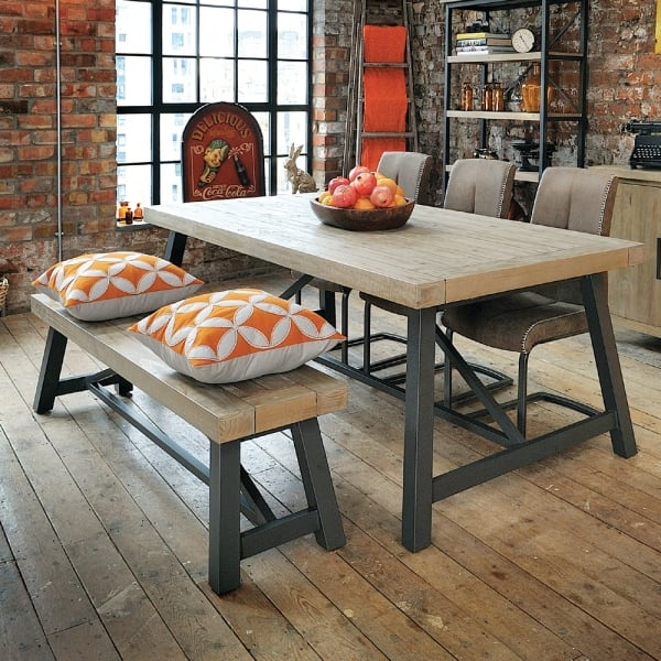 Industrial Dining Reclaimed Table Bench Chairs Curiosity Interiors
