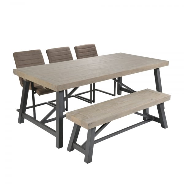Phenomenal Ruan Industrial Large Dining Table With Framed Chairs And Bench Andrewgaddart Wooden Chair Designs For Living Room Andrewgaddartcom