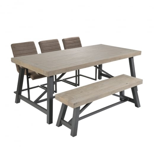 Dining Table Chairs And Bench: Metal Table Bench Chair