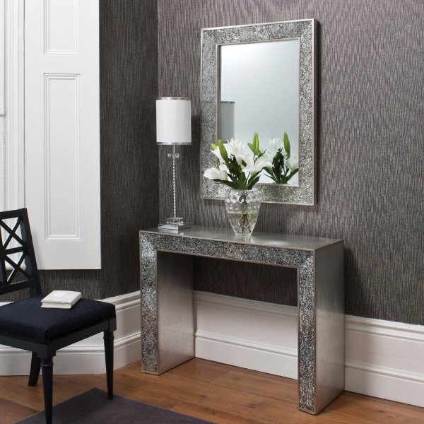 Sasha Contemporary Console Table With Carckle Mirror Inlay