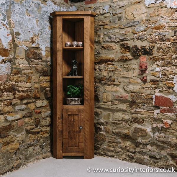 Plank Corner Display Unit Chunky Wood Shelves Curiosity Interiors