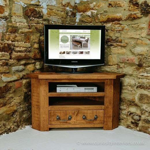 Sherwood Plank Corner Tv Unit Chunky Rustic Wood Tv Stand