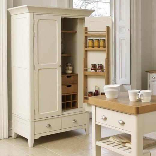Larder Pantry Cupboard: Painted Oak Wood Two Tone Pantry Cupboard
