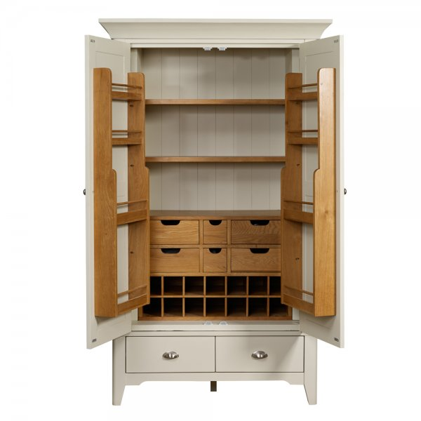Buy larder unit painted oak wood two tone pantry cupboard for Oak kitchen larder units