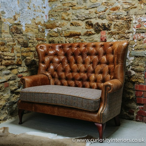Harris Tweed Sofa Leather Amp Tweed Sofa Curiosity Interiors