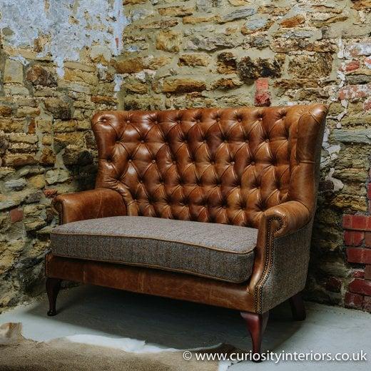 Harris Tweed Sofa Leather Amp Tweed Sofa Curiosity Interiors