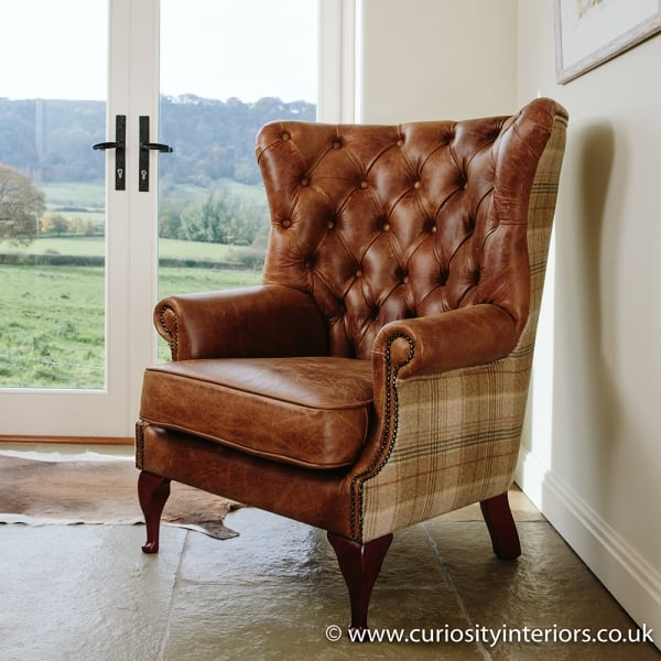 Pleasant Tudor Leather Tweed Wing Armchair Short Links Chair Design For Home Short Linksinfo