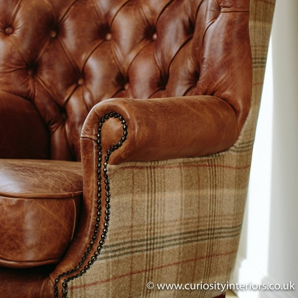 Tudor Leather Amp Tweed Wing Armchair