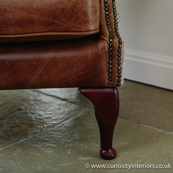 Tudor Leather Amp Tweed Wing Armchair