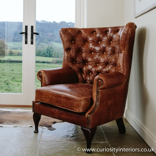Tudor Leather Wing Armchair