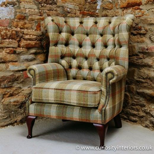 Tudor Tweed Wing Armchair