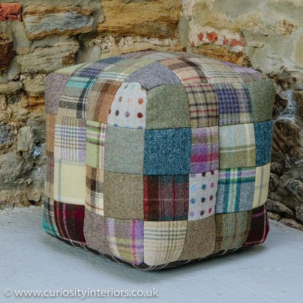5bb73429ff8e0 Tweed Patchwork Cube Bean Bag Footstool