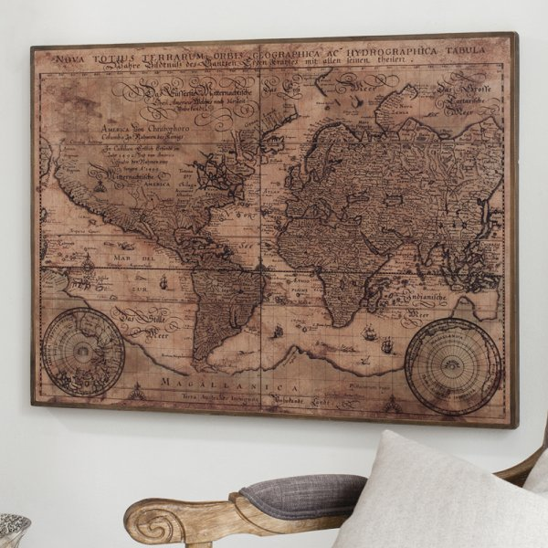 Vintage World Map Art.Buy Vintage World Map Artwork Rustic Antique Wood Wall Plaque