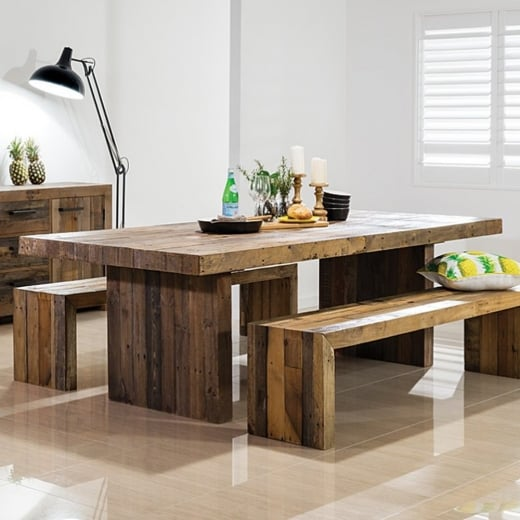 Dining Table With Chairs And Bench: Buy Rustic Chunky Plank Recycled Wood Dining Set