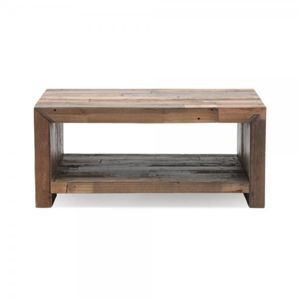 Buy industrial small coffee table recycled plank living for Small industrial coffee table