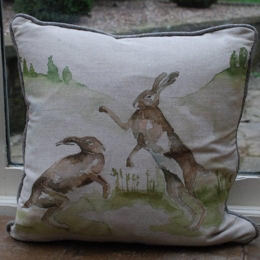 Boxing hares linen cushion voyage maison pillows scatters for Au maison cushions uk
