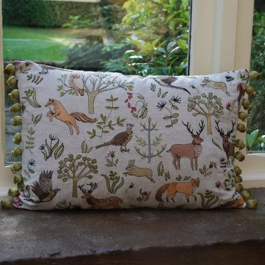 Bramble wood voyage maison linen cushion embroidered for Au maison cushions uk