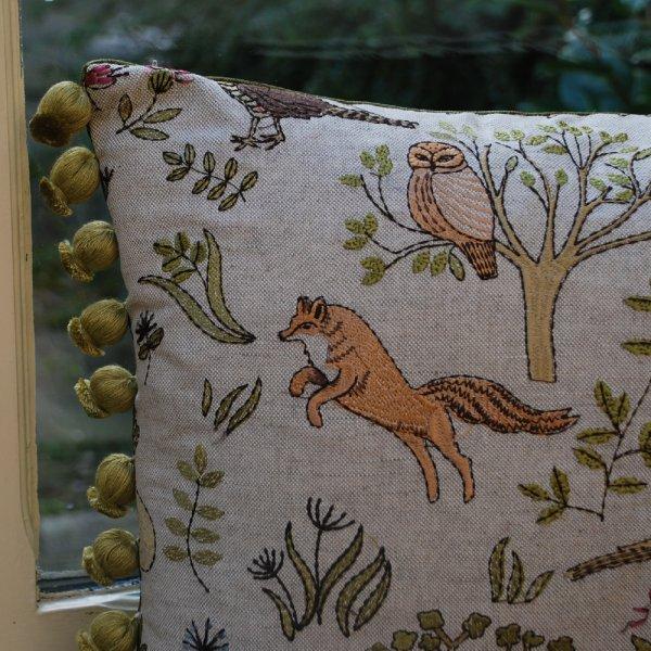 Bramble Wood Voyage Maison Linen Cushion Embroidered