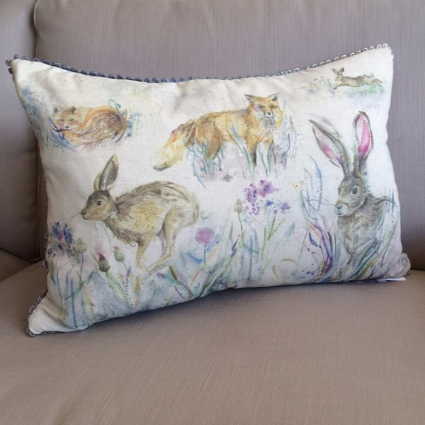 Voyage maison fox and rabbit linen cushion from curiosity for Au maison cushions uk
