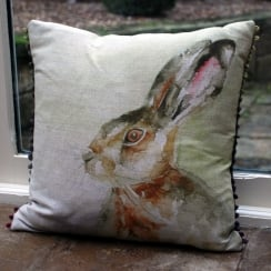 Hazel Hare Linen Cushion