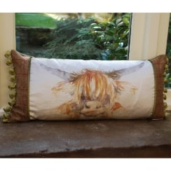 Highland Coo Patch Print Cushion